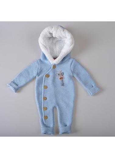 POKY Yeni Sezon Erkek Bebek Düğmeli Kürk Yakalı Kapüşonlu Handmade Kalp Triko Welsoft Tulum 2218 Zn Mavi